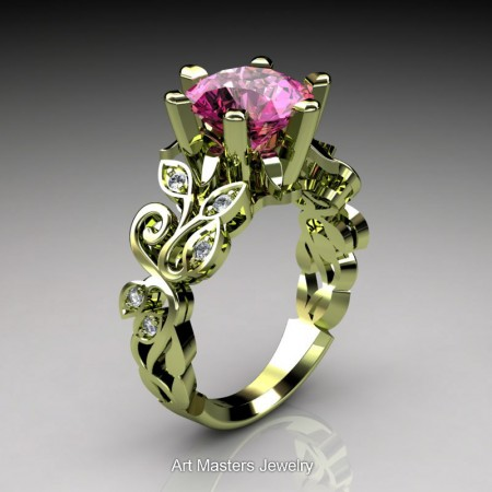 Nature-Inspired-14K-Green-Gold-3-Ct-Pink-Sapphire-Diamond-Leaf-and-Vine-Crown-Solitaire-Ring-RD101-14KGGDPS-P