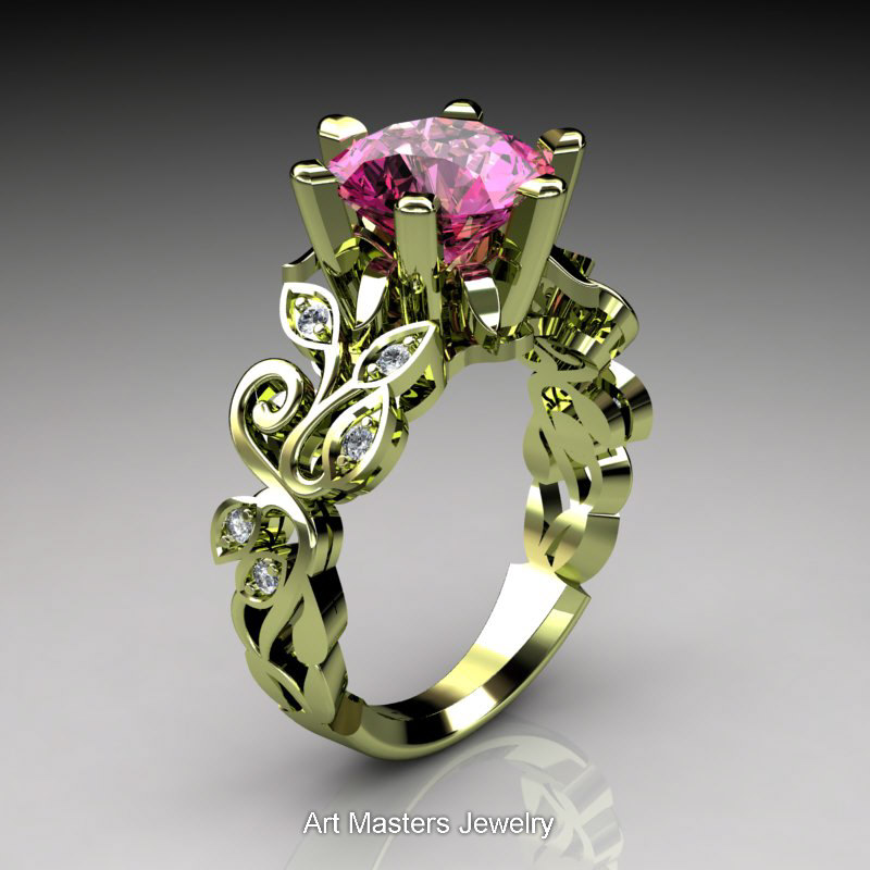 d18c5e7c687 Nature Inspired 14K Green Gold 3.0 Ct Pink Sapphire Diamond Leaf and ...