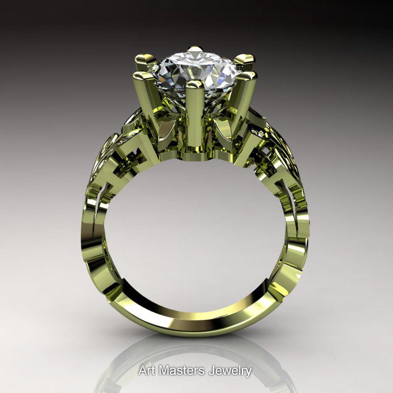 Nature Inspired 14K Green Gold 30 Ct White Sapphire Diamond Leaf