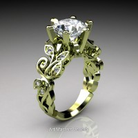 Nature Inspired 14K Green Gold 3.0 Ct White Sapphire Diamond Leaf and Vine Crown Solitaire Ring RNY101-14KGGDWS