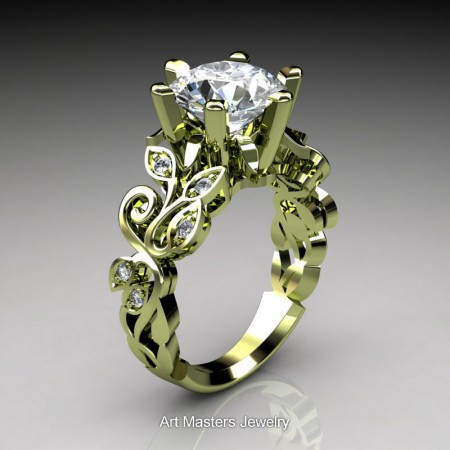 Nature-Inspired-14K-Green-Gold-3-Ct-White-Sapphire-Diamond-Leaf-and-Vine-Crown-Solitaire-Ring-RNY101-14KGGDWS-P