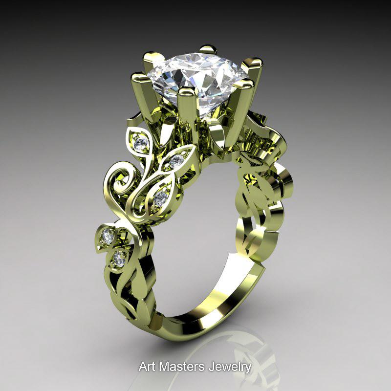 Nature Inspired 14k Green Gold 3 0 Ct White Sapphire
