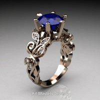 Nature Inspired 14K Rose Gold 3.0 Ct Blue Sapphire Diamond Leaf and Vine Crown Solitaire Ring RNY101-14KRGDBS