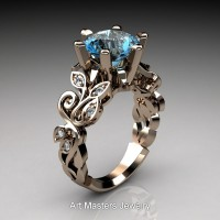Nature Inspired 14K Rose Gold 3.0 Ct Blue Topaz Diamond Leaf and Vine Crown Solitaire Ring RNY101-14KRGDBT