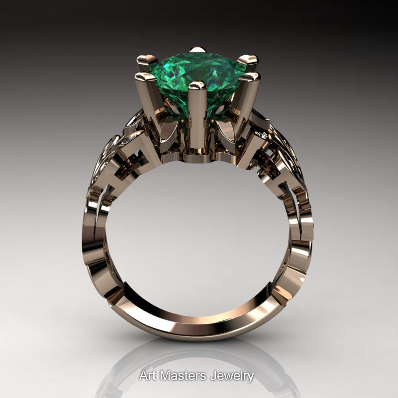 nature inspired 14k rose gold 3 ct emerald - Nature Inspired Wedding Rings