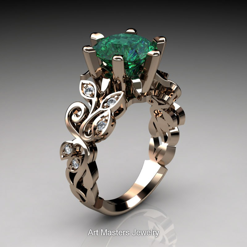 Nature Inspired 14K Rose Gold 3 0 Ct Emerald Diamond Leaf and Vine