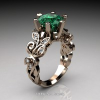 Nature Inspired 14K Rose Gold 3.0 Ct Emerald Diamond Leaf and Vine Crown Solitaire Ring RNY101-14KRGDEM