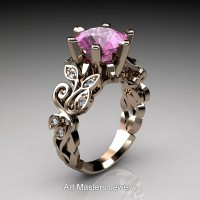 Nature Inspired 14K Rose Gold 3.0 Ct Pink Sapphire Diamond Leaf and Vine Crown Solitaire Ring RNY101-14KRGDPS