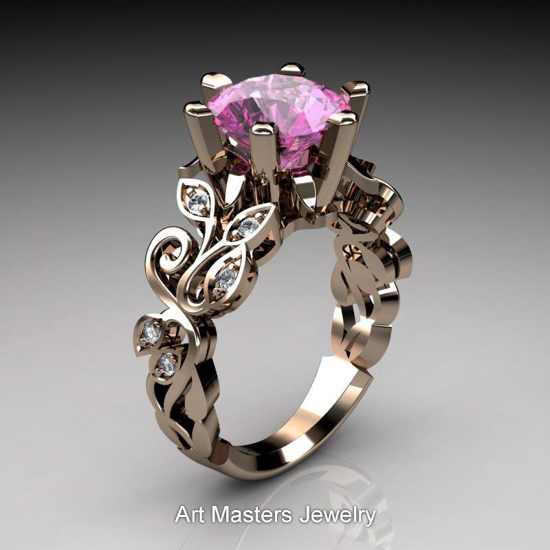 Nature Inspired 14k Rose Gold 3 0 Ct Pink Sapphire Diamond