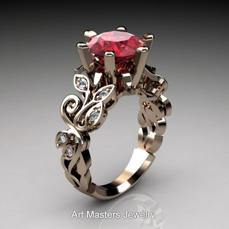 Nature-Inspired-14K-Rose-Gold-3-Ct-Ruby-Diamond-Leaf-and-Vine-Crown-Solitaire-Ring-RNY101-14KRGDR-P