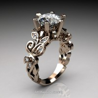 Nature Inspired 14K Rose Gold 3.0 Ct White Sapphire Diamond Leaf and Vine Crown Solitaire Ring RNY101-14KRGDWS