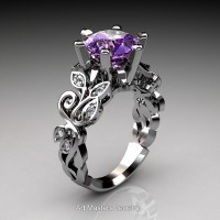 Nature Inspired 14K White Gold 3.0 Ct Amethyst Diamond Leaf and Vine Crown Solitaire Ring RNY101-14KWGDAM