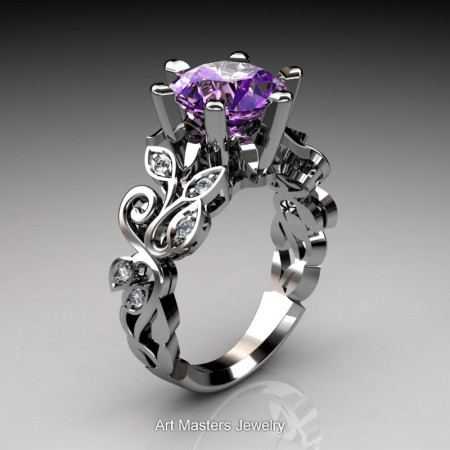 Nature-Inspired-14K-White-Gold-3-Ct-Amethyst-Diamond-Leaf-and-Vine-Crown-Solitaire-Ring-NY101-14KWGDAM-P