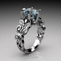 Nature Inspired 14K White Gold 3.0 Ct Aquamarine Diamond Leaf and Vine Crown Solitaire Ring RNY101-14KWGDAQ