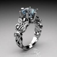 Nature Inspired 14K White Gold 3.0 Ct Aquamarine Diamond Leaf and Vine Crown Solitaire Ring RNY101-14KWGDAQ