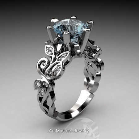Nature-Inspired-14K-White-Gold-3-Ct-Aquamarine-Diamond-Leaf-and-Vine-Crown-Solitaire-Ring-RNY101-14KWGDAQ-P