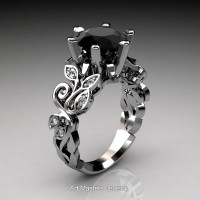 Nature Inspired 14K White Gold 3.0 Ct Black and White Diamond Leaf and Vine Crown Solitaire Ring RNY101-14KWGDBD