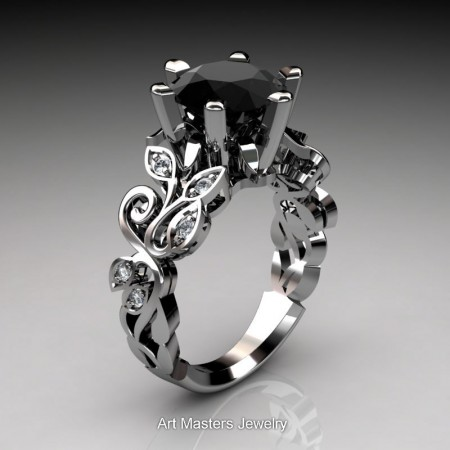 Nature-Inspired-14K-White-Gold-3-Ct-Black-and-White-Diamond-Leaf-and-Vine-Crown-Solitaire-Ring-RNY101-14KWGDBD-P