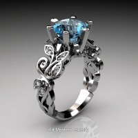 Nature Inspired 14K White Gold 3.0 Ct Blue Topaz Diamond Leaf and Vine Crown Solitaire Ring RNY101-14KWGDBT