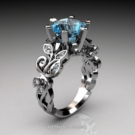 Nature-Inspired-14K-White-Gold-3-Ct-Blue-Topaz-Diamond-Leaf-and-Vine-Crown-Solitaire-Ring-RNY101-14KWGDBT-P