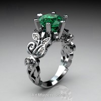 Nature Inspired 14K White Gold 3.0 Ct Emerald Diamond Leaf and Vine Crown Solitaire Ring RNY101-14KWGDEMNature Inspired 14K White Gold 3.0 Ct Emerald Diamond Leaf and Vine Crown Solitaire Ring RNY101-14KWGDEM
