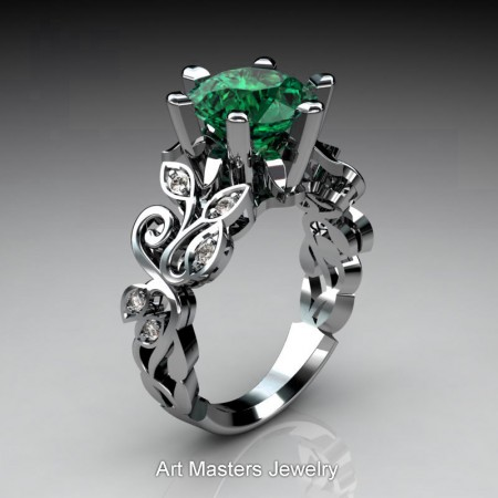 Nature-Inspired-14K-White-Gold-3-Ct-Emerald-Diamond-Leaf-and-Vine-Crown-Solitaire-Ring-RNY101-14KWGDEM-P2