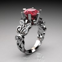 Nature Inspired 14K White Gold 3.0 Ct Ruby Diamond Leaf and Vine Crown Solitaire Ring RNY101-14KWGDR