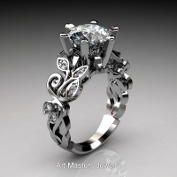 Nature Inspired 14K White Gold 3.0 Ct White Sapphire Diamond Leaf and Vine Crown Solitaire Ring RNY101-14KWGDWS