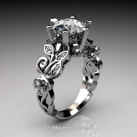 Nature-Inspired-14K-White-Gold-3-Ct-White-Sapphire-Diamond-Leaf-and-Vine-Crown-Solitaire-Ring-RNY101-14KWGDWS-P