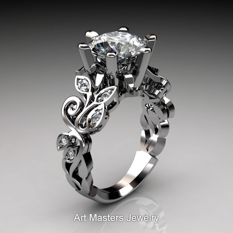 Nature Inspired 14K White Gold 30 Ct White Sapphire