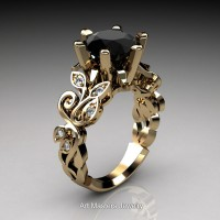 Nature Inspired 14K Yellow Gold 3.0 Ct Black and White Diamond Leaf and Vine Crown Solitaire Ring RNY101-14KYGDBD
