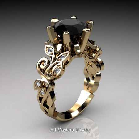 Nature-Inspired-14K-Yellow-Gold-3-Ct-Black-and-White-Diamond-Leaf-and-Vine-Crown-Solitaire-Ring-RNY101-14KYGDBD-P