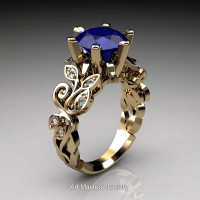 Nature Inspired 14K Yellow Gold 3.0 Ct Blue Sapphire Diamond Leaf and Vine Crown Solitaire Ring RNY101-14KYGDBS