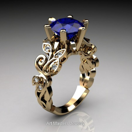 Nature-Inspired-14K-Yellow-Gold-3-Ct-Blue-Sapphire-Diamond-Leaf-and-Vine-Crown-Solitaire-Ring-RNY101-14KYGDBS-P