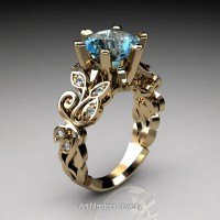 Nature Inspired 14K Yellow Gold 3.0 Ct Blue Topaz Diamond Leaf and Vine Crown Solitaire Ring RNY101-14KYGDBT