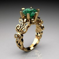 Nature Inspired 14K Yellow Gold 3.0 Ct Emerald Diamond Leaf and Vine Crown Solitaire Ring RNY101-14KYGDEM