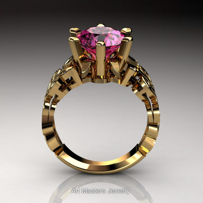 Nature Inspired 14k Yellow Gold 3 0 Ct Pink Sapphire