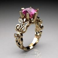 Nature Inspired 14K Yellow Gold 3.0 Ct Pink Sapphire Diamond Leaf and Vine Crown Solitaire Ring RNY101-14KYGDPS