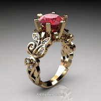 Nature Inspired 14K Yellow Gold 3.0 Ct Ruby Diamond Leaf and Vine Crown Solitaire Ring RNY101-14KYGDR