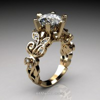 Nature Inspired 14K Yellow Gold 3.0 Ct White Sapphire Diamond Leaf and Vine Crown Solitaire Ring RNY101-14KYGDWS