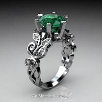 Nature Inspired 950 Platinum 3.0 Ct Emerald Diamond Leaf and Vine Crown Solitaire Ring RNY101-PLATDEM