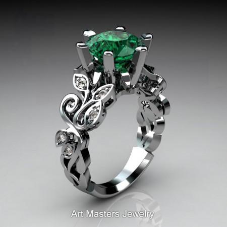 Nature-Inspired-Platinum-3-Ct-Emerald-Diamond-Leaf-and-Vine-Crown-Solitaire-Ring-RNY101-PLATDEM-P – Copy
