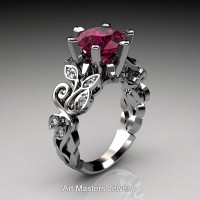 Nature Inspired 14K White Gold 3.0 Ct Red Garnet Diamond Leaf and Vine Crown Solitaire Ring RNY101-14KWGDG