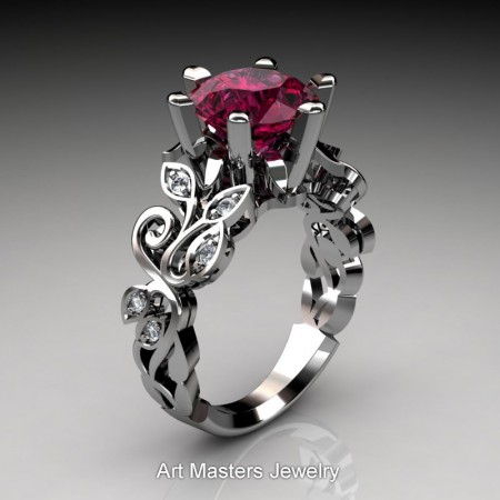 Nature-Inspired-Platinum-3-Ct-Red-Garnet-Diamond-Leaf-and-Vine-Crown-Solitaire-Ring-RNY101-PLATDG-P – Copy