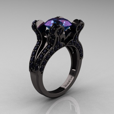 French-Vintage-Black-Gold-3-0-Carat-Alexandrite-Black-Diamond-Pisces-Weddinng-Ring-Engagement-Ring-R228-BGDAL-P