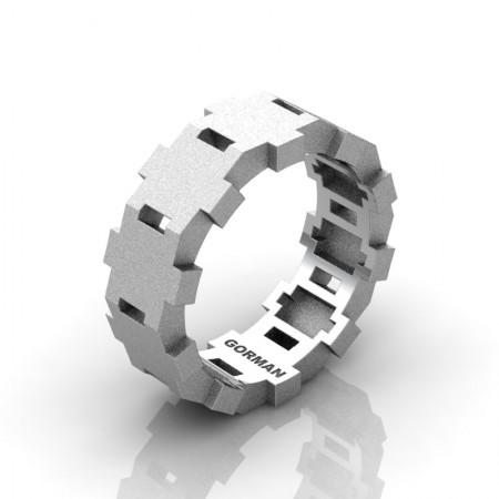 Gorman-Designs-Mens-Modern-Sandblast-14K-White-Gold-Wedding-Band-G1175-14KWGS-P