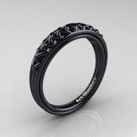 Classic French 14K Black Gold Lace Wedding Band R175B-14KBG