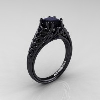 Classic French 14K Black Gold 1.0 Ct Princess Black Diamond Lace Engagement Ring or Wedding Ring R175P-14KBGBD