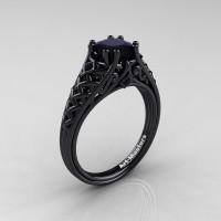 Classic French 14K Black Gold 1.0 Ct Princess Black Diamond Lace Engagement Ring or Wedding Ring R175P-14KBGBD