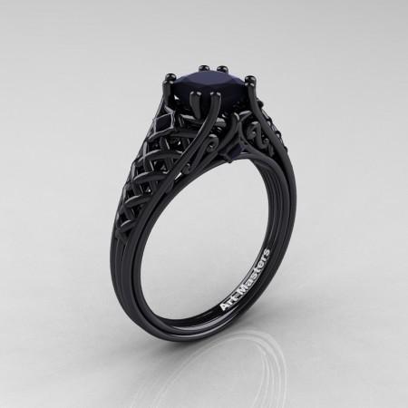 Classic-French-Black-Gold-Princess-Back-Diamond-Lace-Bridal-Ring-R175P-BGBD-P